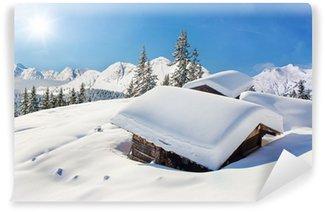 Vinyl-Fototapete Schneebedeckte Hütte