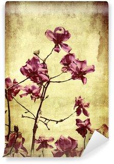 Vinyl Fototapete Schöne Grunge Hintergrund mit Magnolien