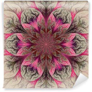 Vinyl-Fototapete Schönes Fraktal Blume in rot, rosa und grau. Computer generat