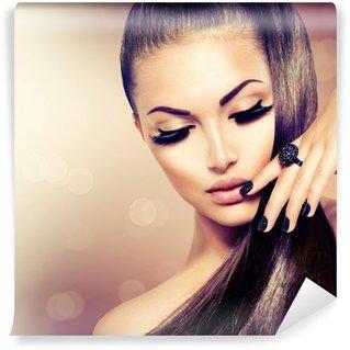 Vinyl Fototapete Schönheit Mode Modell Mädchen mit langen gesundes Braun Haar