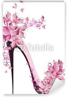 Vinyl-Fototapete Schuhe auf einem hohen Ferse mit Schmetterlingen verziert