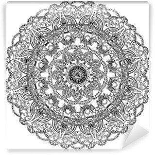 Vinyl-Fototapete Schwarze Spitze Kreis auf weißem Hintergrund. Ornamental Mandala