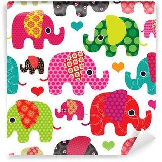 Vinyl-Fototapete Seamless Elefant scherzt Muster Hintergrund im Vektor-