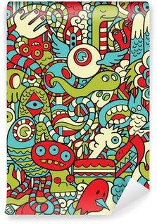 Vinyl-Fototapete Seamless Hipster Doodle Monster Collage Muster