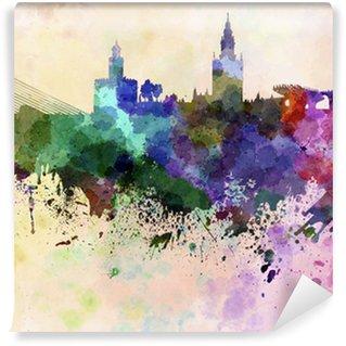 Vinyl-Fototapete Sevilla Skyline in Aquarell-Hintergrund