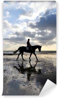 Vinyl-Fototapete Silhouette einer Pferdereiter, die auf Strand