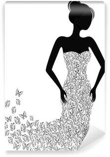 Vinyl-Fototapete Silhouette von einem Mädchen in einem Kleid auseinander fliegen