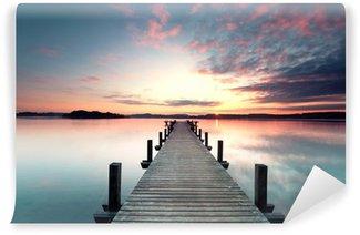 Vinyl Fototapete Sommermorgen mit Sonnenaufgang