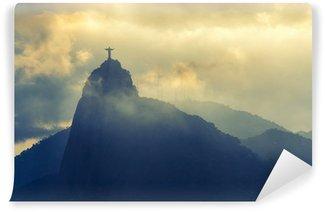 Vinyl-Fototapete Sonnenuntergang an Christus Erlöser, Rio de Janeiro, Brasilien