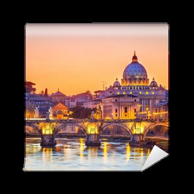 Vinyl-Fototapete St. Peter-Kathedrale in der Nacht, Rom