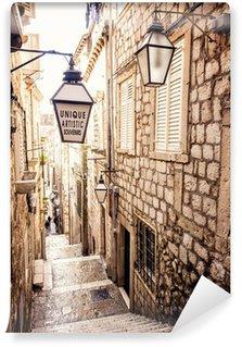 Vinyl Fototapete Steile Treppen und schmale Straße in der Altstadt von Dubrovnik