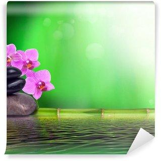 Vinyl-Fototapete Stillleben aus Bambus, Orchidee und Steinen
