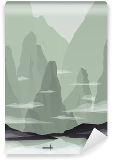 Vinyl-Fototapete Südostasien Landschaft Vektor-Illustration mit Felsen, Klippen und das Meer. China oder Vietnam zur Förderung des Tourismus.