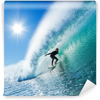Vinyl-Fototapete Surfer on Blue Ocean Wave