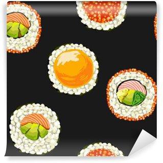 Vinyl Fototapete Sushi-nahtlose Muster auf einem schwarzen Hintergrund