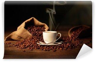 Vinyl-Fototapete Tasse dampfenden Kaffee