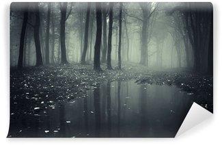 Vinyl-Fototapete Teich in einem Wald mit Nebel