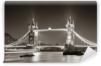 Vinyl-Fototapete Tower Bridge bei Nacht in schwarz und weiß