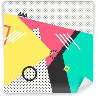 Vinyl-Fototapete Trendy geometrische Elemente memphis Karten. Retro-Stil Textur, Muster und geometrische Elemente. Modernes abstraktes Design Plakat, Abdeckung, Kartenentwurf.
