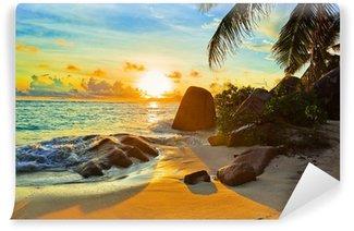 Vinyl Fototapete Tropical beach at sunset
