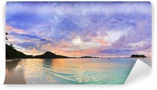 Vinyl Fototapete Tropischer Strand Cote d'Or bei Sonnenuntergang, Seychellen