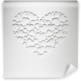 Vinyl-Fototapete Valentinstag Herz aus kleinen Herzen auf Papier-Karte gemacht