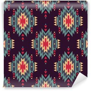 Vinyl-Fototapete Vector nahtlose dekorativen ethnischen Muster. American Indian Motive. Hintergrund mit aztekischen Stammes-Ornament.