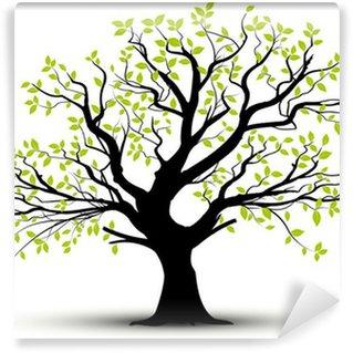 Vinyl-Fototapete Vector set - dekorative Baum und grünen Blättern