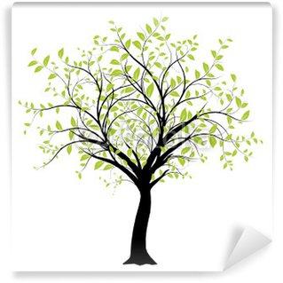 Vinyl-Fototapete Vektor-Set - Vektor grünen Baum Dekoration auf weißem