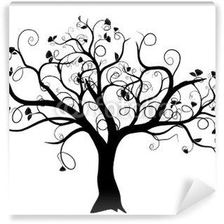 Vinyl-Fototapete Vektor-Set - Vektor-Schwarz-Baum auf weißem Hintergrund