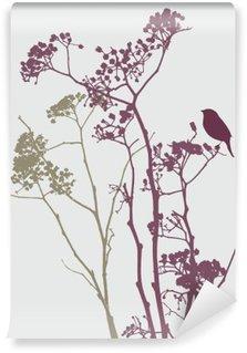Vinyl-Fototapete Vogel auf der Wiese Blumen