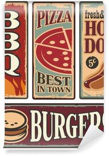 Vinyl Fototapete Weinlese-Fast-Food-Blechschilder