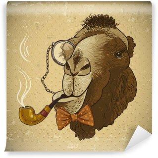 Vinyl-Fototapete Weinlese-Karte Hippie-Tier Kamel mit Rohr