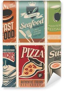 Vinyl Fototapete Weinlese-Sammlung von Lebensmitteln und Restaurants Postern