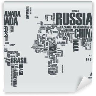 Vinyl-Fototapete Weltkarte: die Konturen des Landes besteht aus den Worten