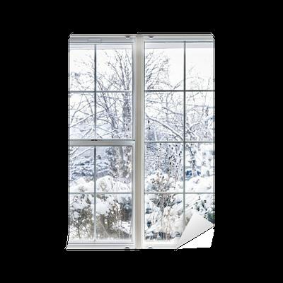 fototapete winter blick durch das fenster pixers wir leben um zu ver ndern. Black Bedroom Furniture Sets. Home Design Ideas