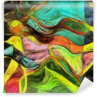 Vinyl Fototapete Wirbelnden Formen, Farbe und Linien