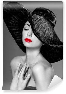 Vinyl Fototapete Wunderschöne Frau in einem Hut