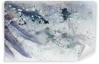 Fototapet av Vinyl Abstrakt målning med suddiga och färgade struktur med mild fjäder silhuett.