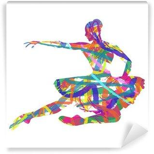 Fototapet av Vinyl Abstrakt silhuett av ballerina sammansatt färger