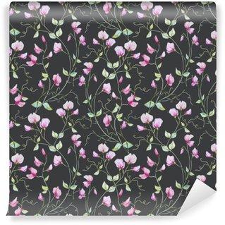 Akvarel blomster mønster. Vinyl Fototapet