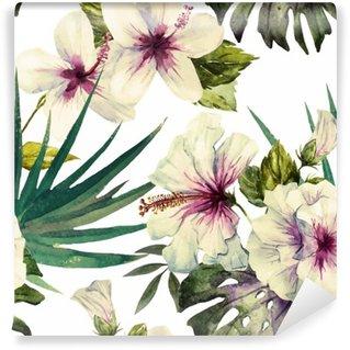 Fototapet av Vinyl Akvarell hibiskus mönster