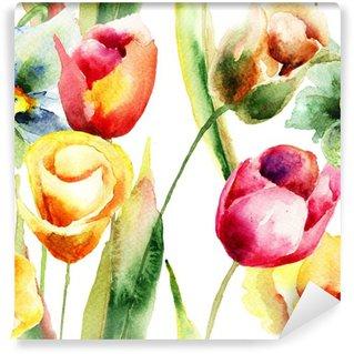 Fototapet av Vinyl Akvarell illustration av tulpaner blommor