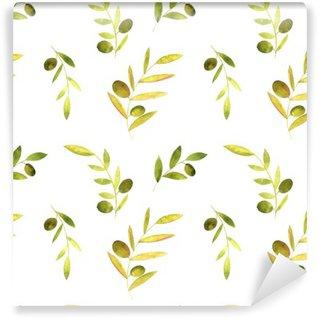 Fototapet av Vinyl Akvarell seamless med oliver, löv och grenar