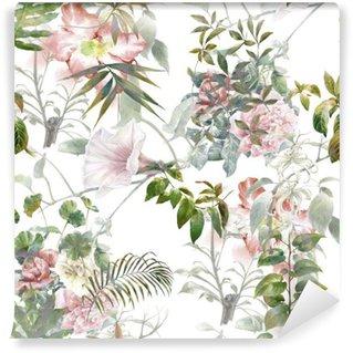 Fototapet av Vinyl Akvarellmålning av löv och blommor, seamless mönster på vit bakgrund