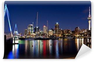 Auckland, New Zealand, Skyline at Night with Bridge Vinyl Fototapet