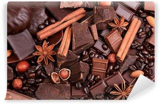 Fototapet av Vinyl Bakgrund från skivor av choklad, kaffe, nötter och kryddor