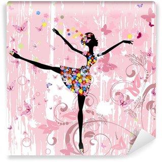 Fototapet av Vinyl Ballerina flicka med blommor med fjärilar grunge
