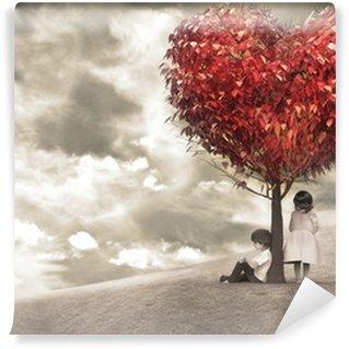 Fototapet av Vinyl Barn under träd hjärta