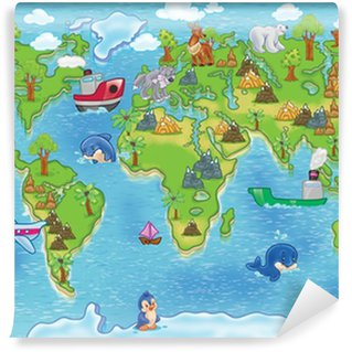 Fototapet av Vinyl Barn världskartan